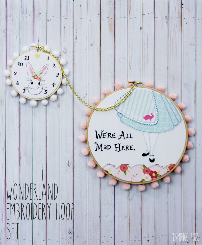 alice in wonderland style embroidery hoop art