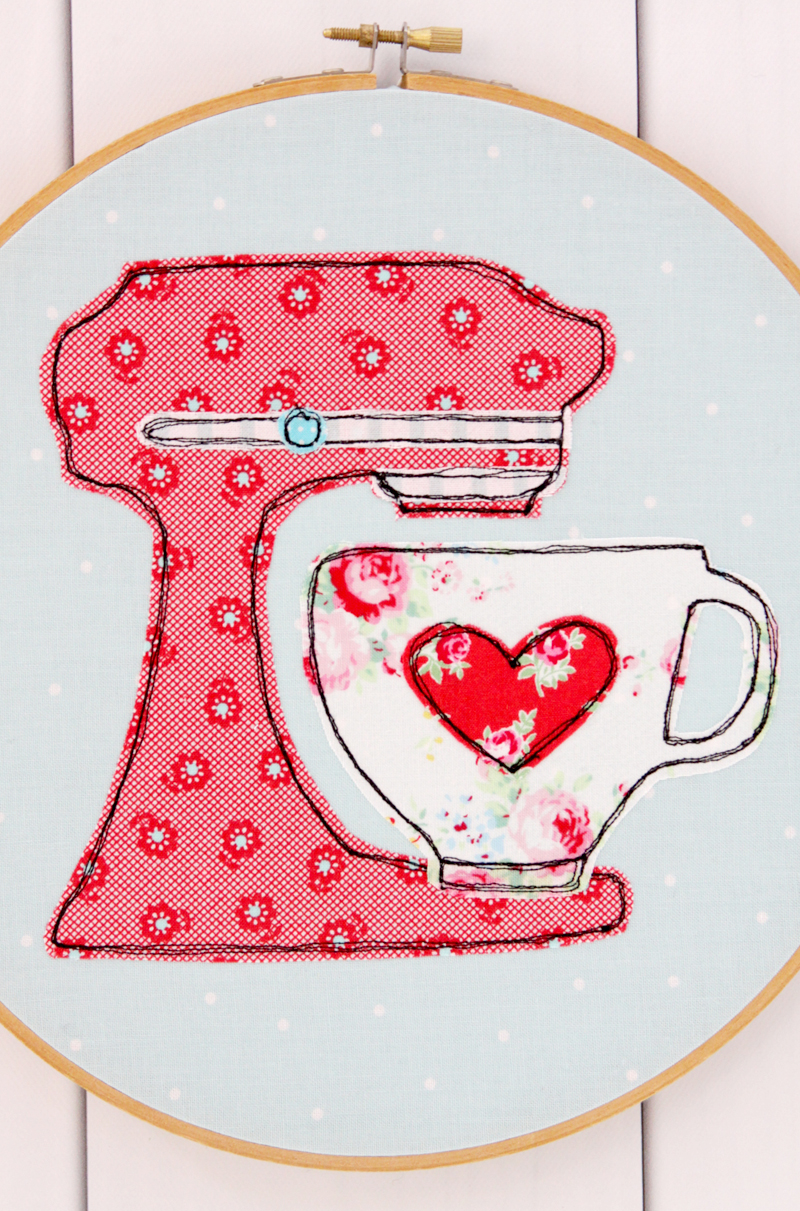 Cute Mixer Embroidery Hoop Art