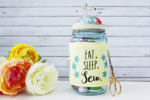 Embroidered Mason Jar Pincushion