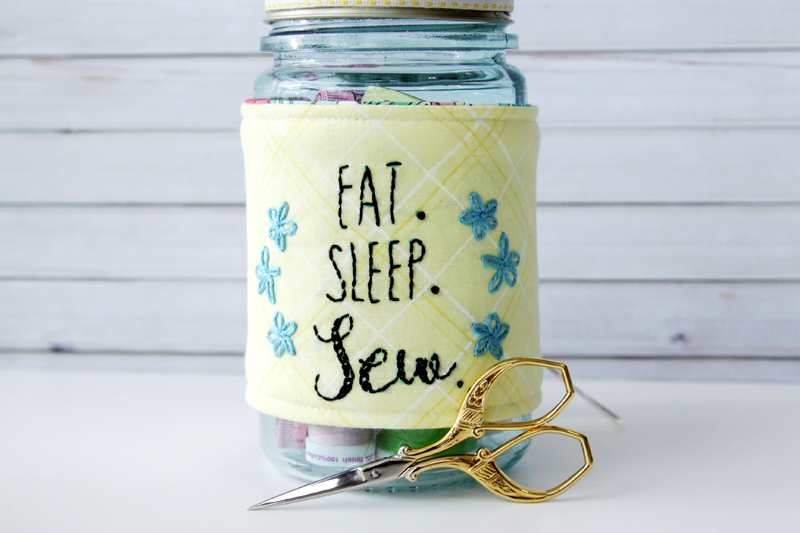 Embroidered Mason Jar Cozy
