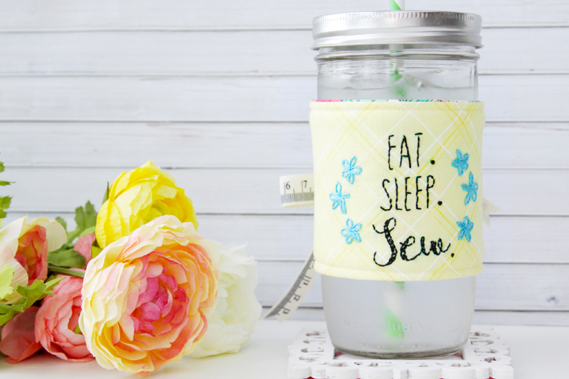 Embroidered Mason Jar Sleeve