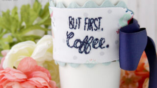 Ribbon and Fabric Coffee Cozy