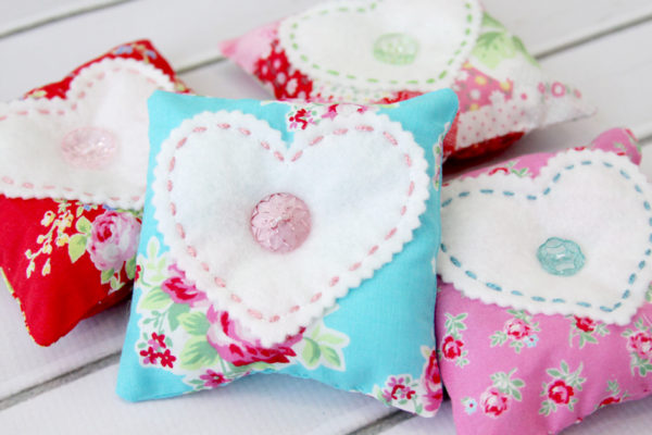 Fabric and Felt Heart Lavender Sachets