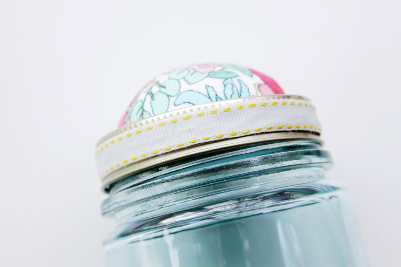 Ribbon glued to rim of mason jar