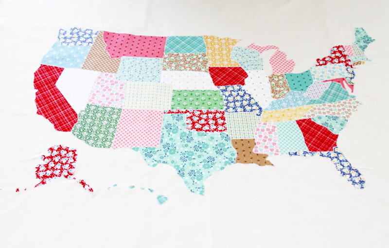 Appliqued US Map Quilt