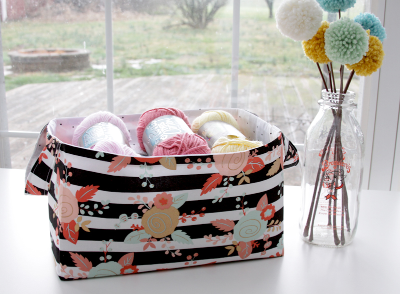DIY Fabric Storage Basket featured by top US sewing blog, Flamingo Toes: DIY Fabric Basket