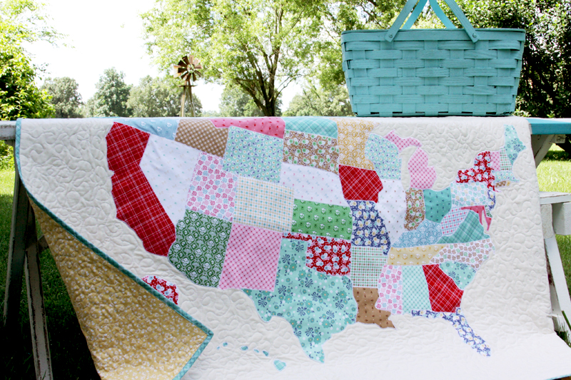 US State Map Quilt - United state state map