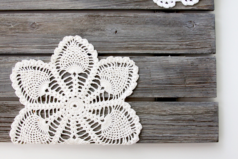 Doilies on Barnwood Sign