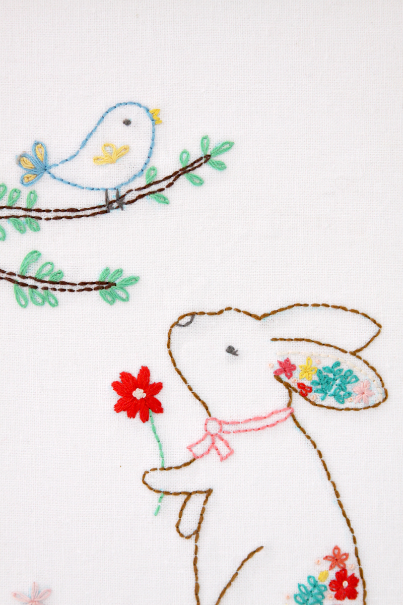 Floral Bunny and Birdie Embroidery Pattern
