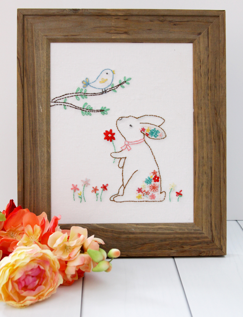 Floral Bunny and Friend Embroidery Pattern