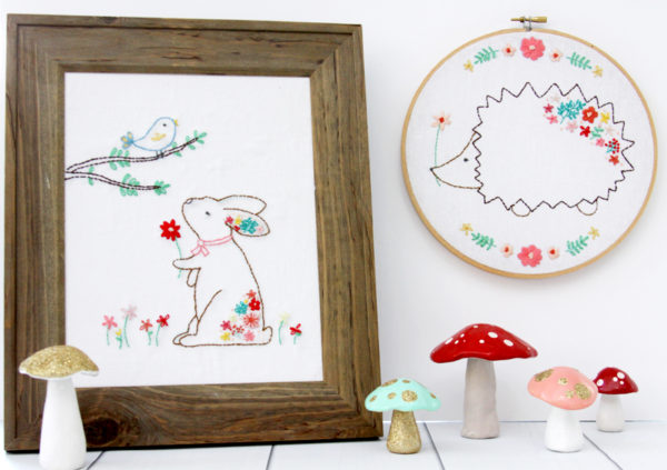 Floral Bunny and Hedgie Embroidery Patterns