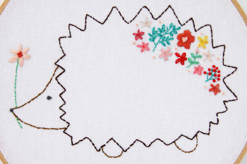 Floral Hedgehog Embroidery Pattern