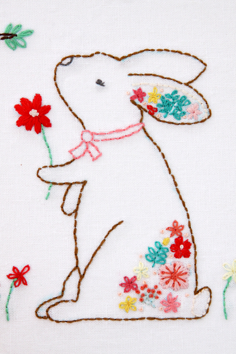 Rabbit embroidery with florals nBAk7t