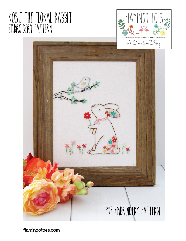 Rosie the Floral Rabbit Embroidery Pattern-01