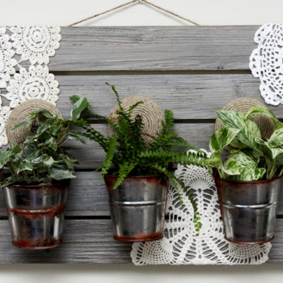 Easy DIY Barnwood Hanging Planter