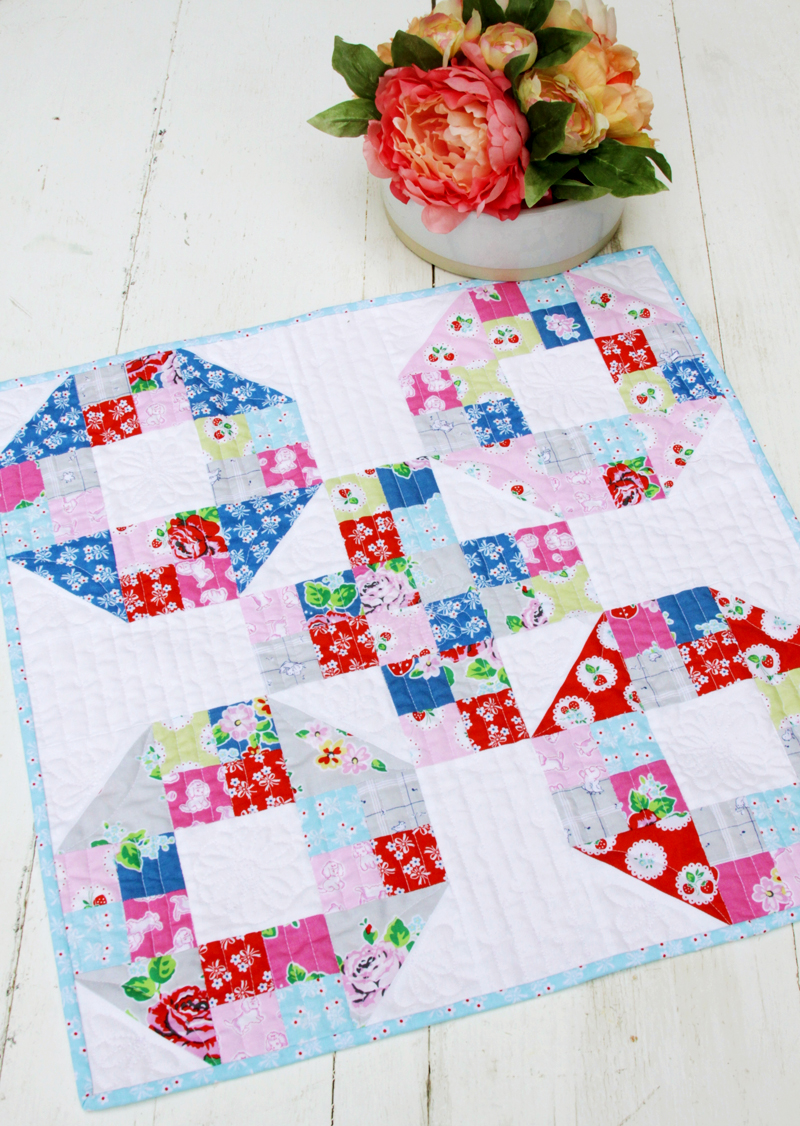 Strawberry Biscuit Fabric Mini Quilt
