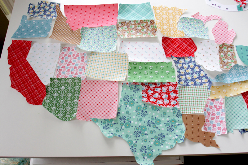 US States cut from fabric