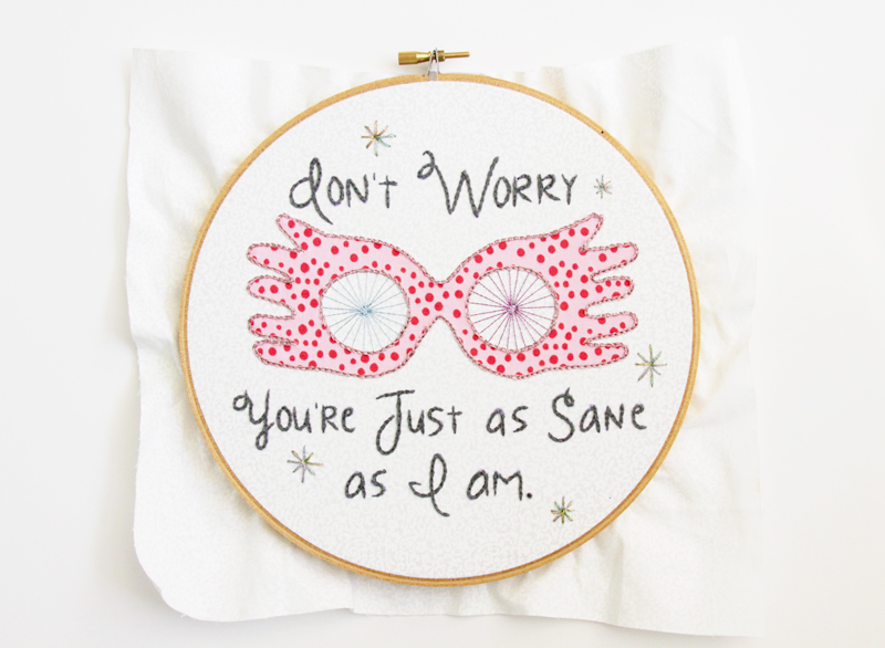 Embroidered Luna Lovegood Hoop Art