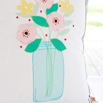 Mason Jar Flower Vase Pillow