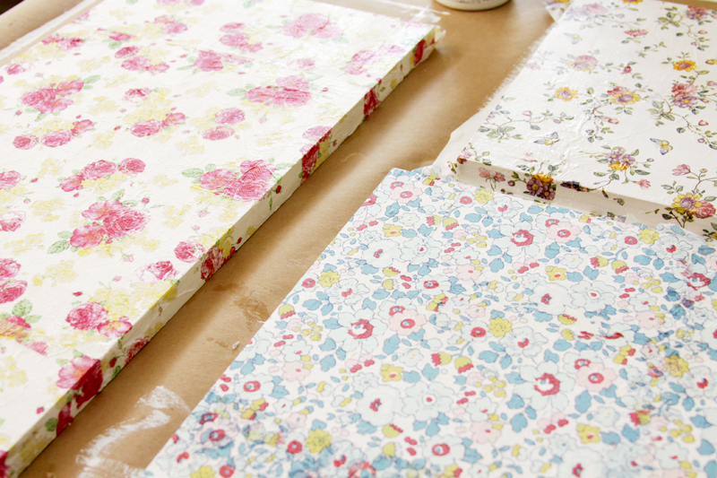 Floral Napkins on Shelves