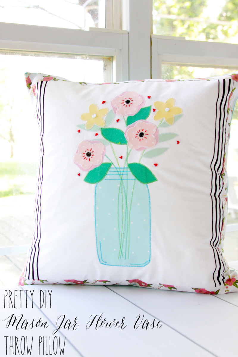 Mason Jar Vase Pillow