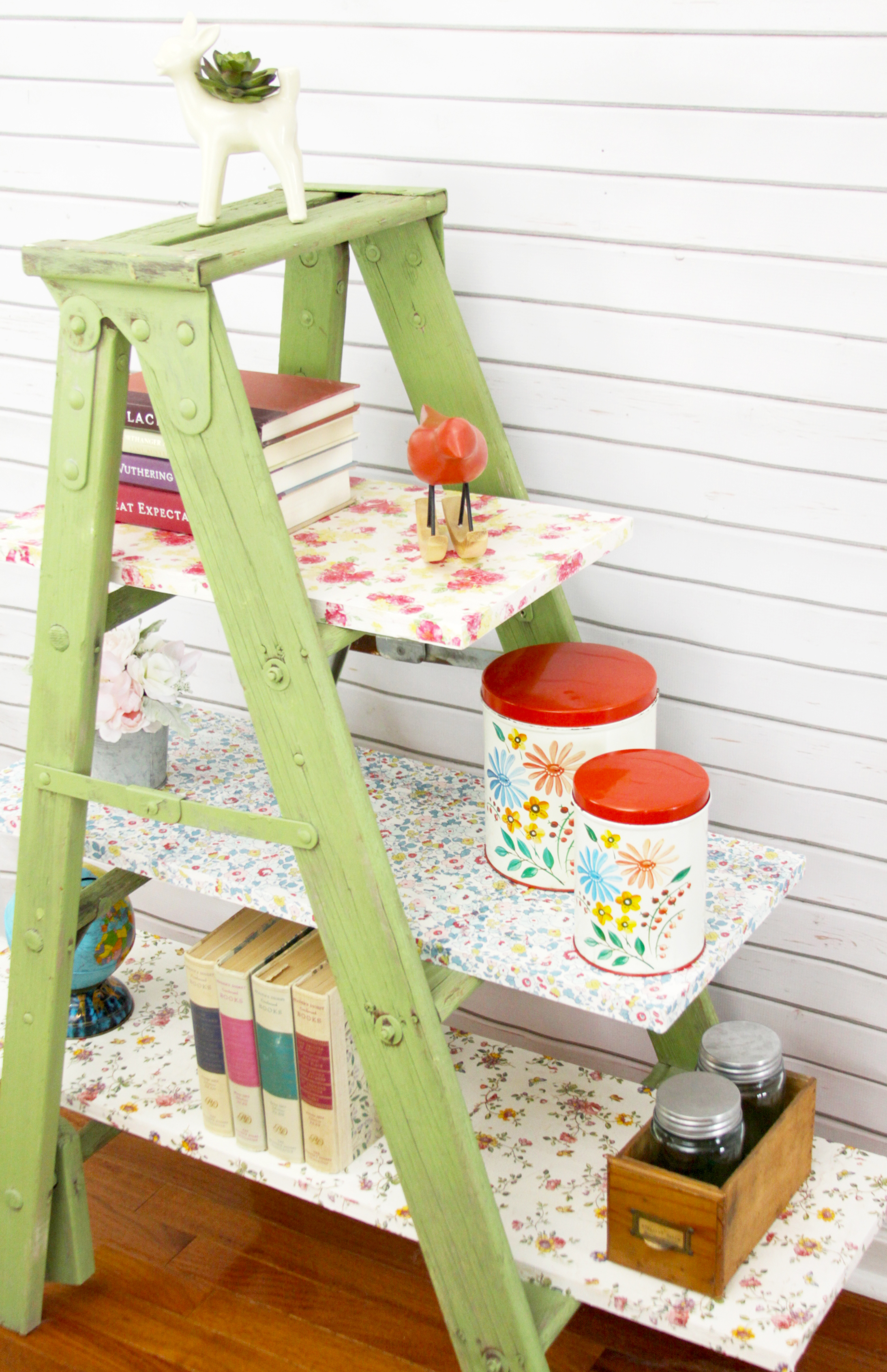 Pretty Floral Shelving using a ladder