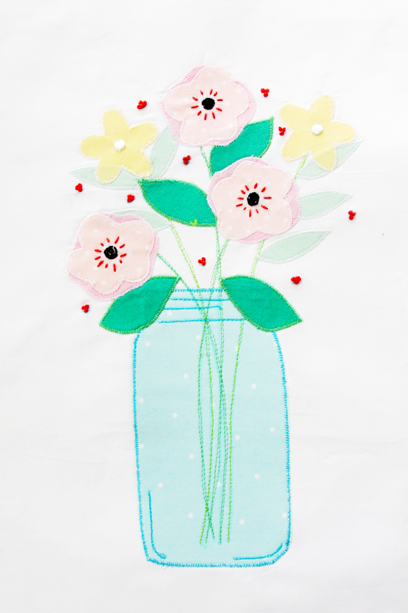 Pretty Mason Jar Applique