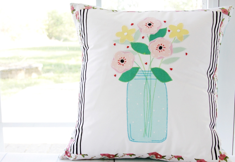 Pretty Mason Jar Pillow