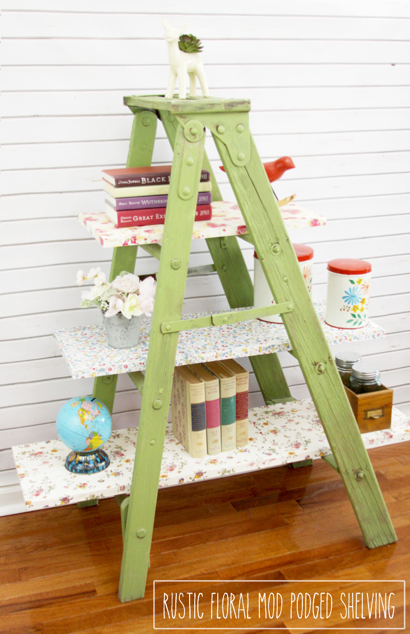 Vintage Floral Mod Podged Ladder Shelving