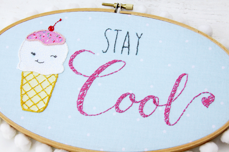 Stay Cool Embroidery Hoop Art