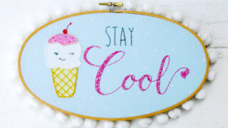 Stay Cool - Retro Ice Cream Embroidery Hoop