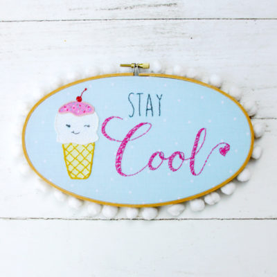 Stay Cool – Retro Ice Cream Embroidery Hoop