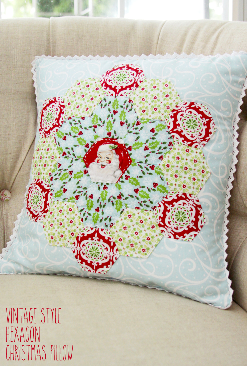 Vintage Style Hexagon Christmas Pillow