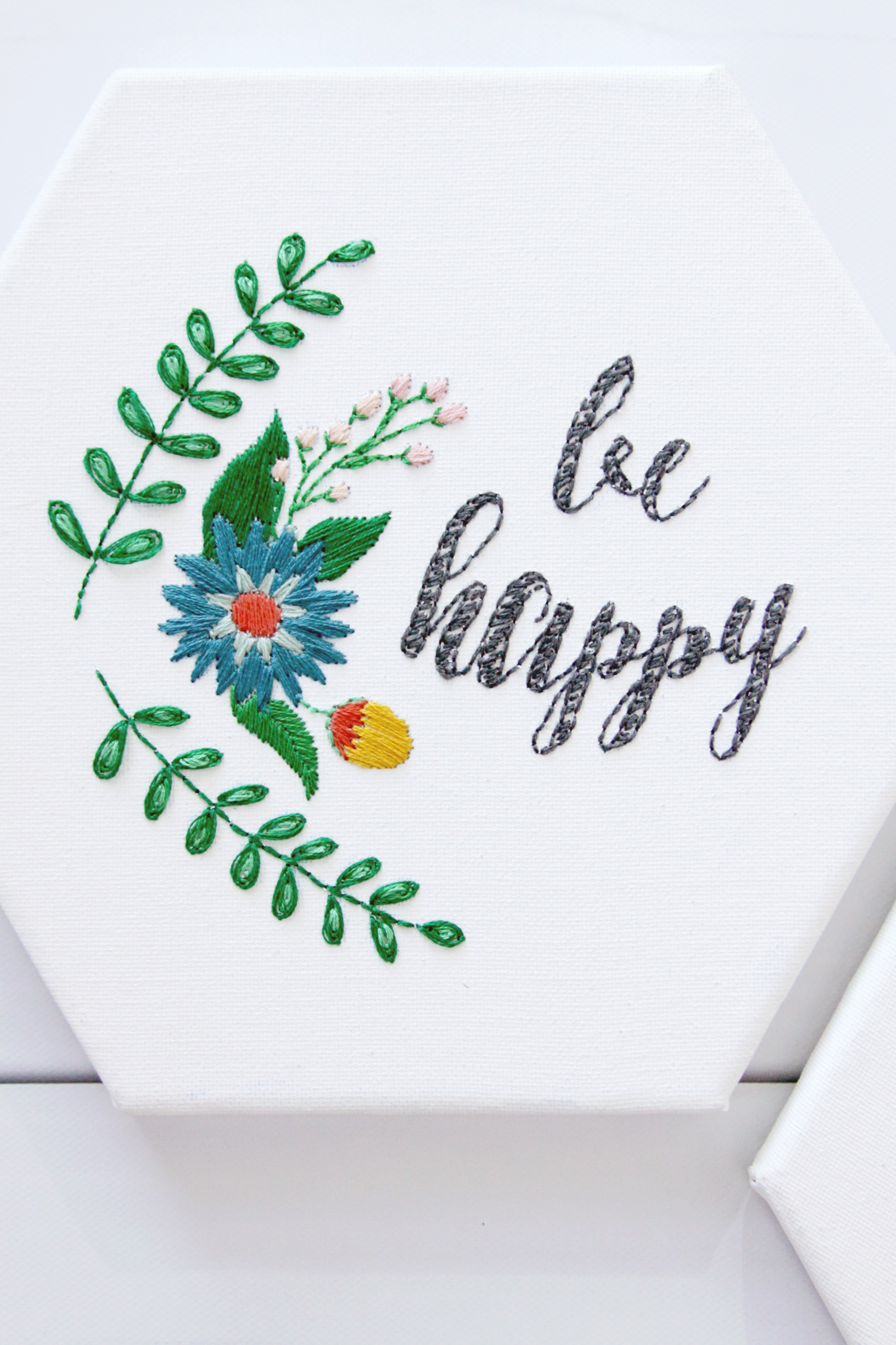 Be Happy Hexagon Embroidery