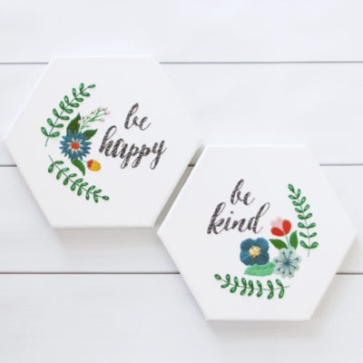 Be Happy and Be Kind – Hexagon Canvas Embroideries