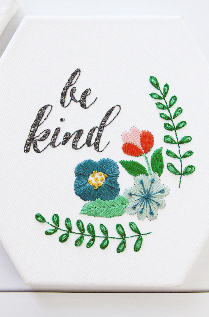 Be Kind Hexagon Embroidery