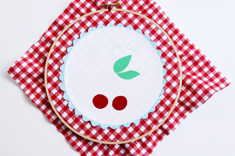 Cherry Fabric in Hoop