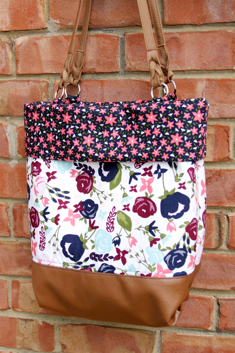 DIY Floral And Leather Tote