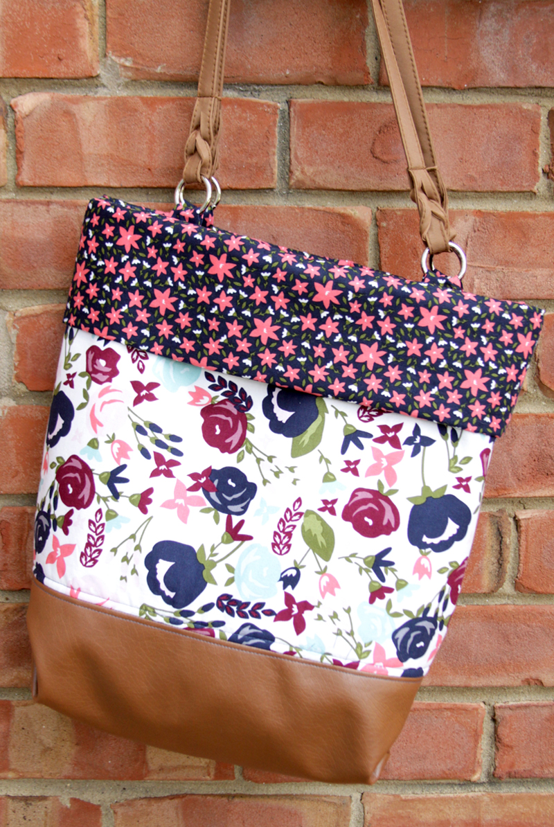 DIY Floral Fold Over Tote