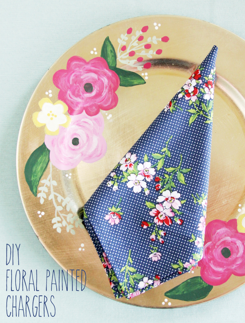 DIY Floral Painted Chargers