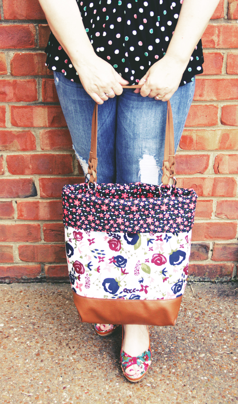 DIY Posy Garden Fabric and Leather Tote