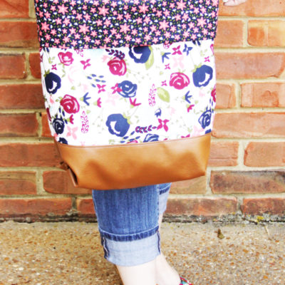 DIY Posy Garden Leather and Fabric Tote