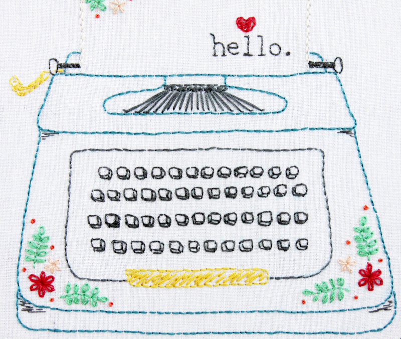 Floral Typewriter Embroidery