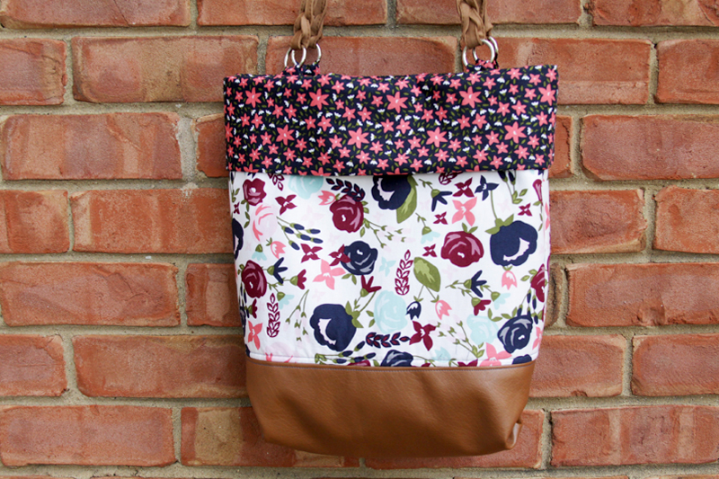 Floral and Leather Tote Bag