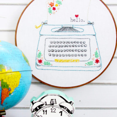 Hello Love – Retro Floral Typewriter Embroidery Pattern