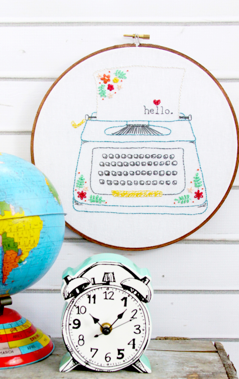 Hello Love Retro Typewriter Embroidery