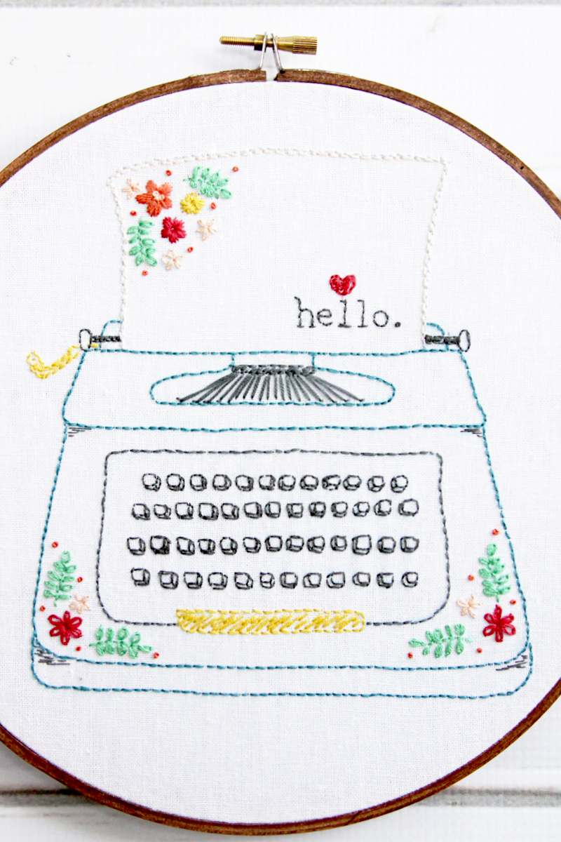 Hello Retro Typewriter Embroidery