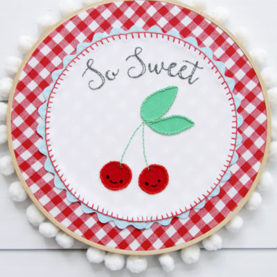 So Sweet Retro Cherry Embroidery Hoop Art