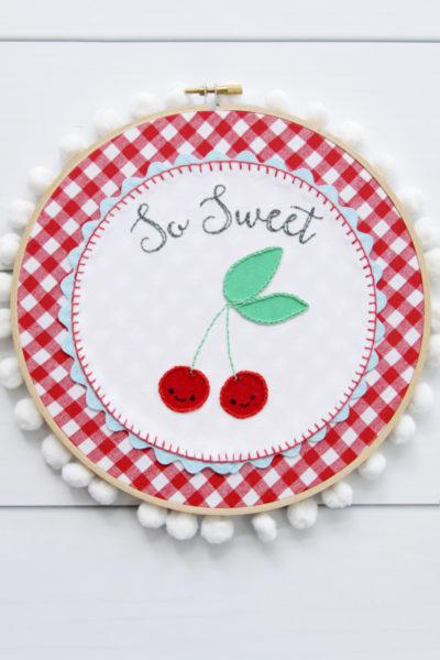 So Sweet Retro Cherry Embroidery Hoop Art