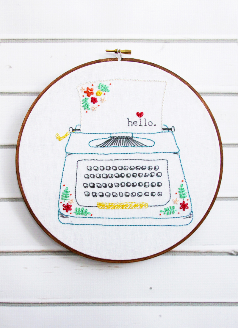 Retro Typewriter Embroidery Pattern